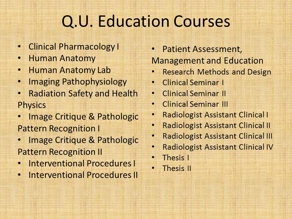 Q.U. Education Courses Clinical Pharmacology I