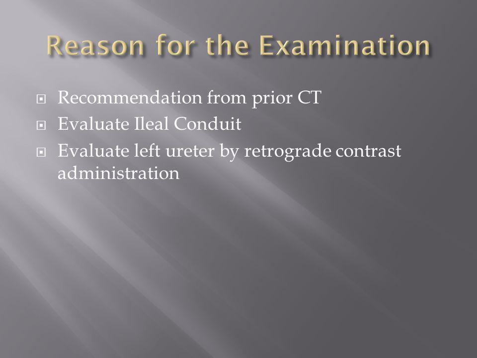Reason for the Examination