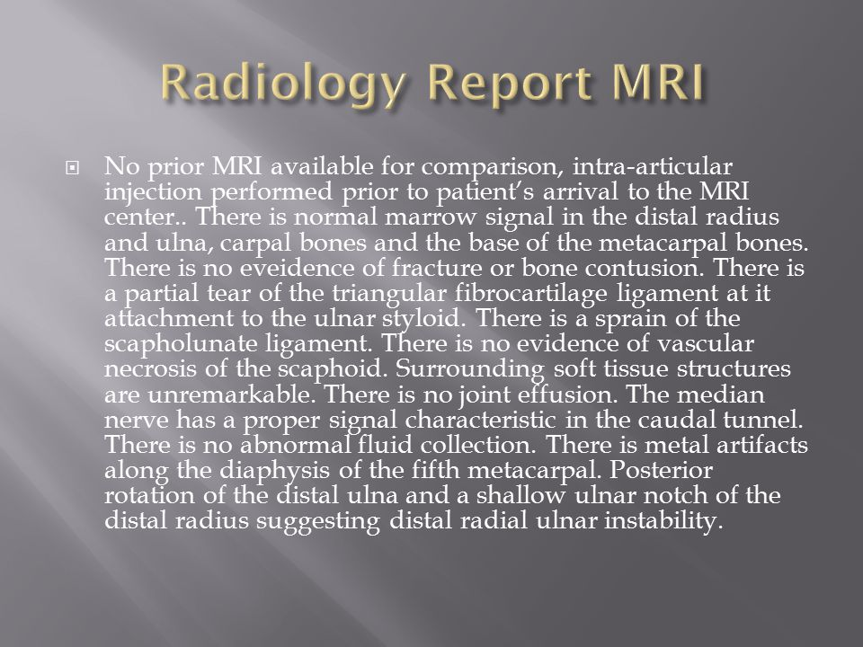 Radiology Report MRI
