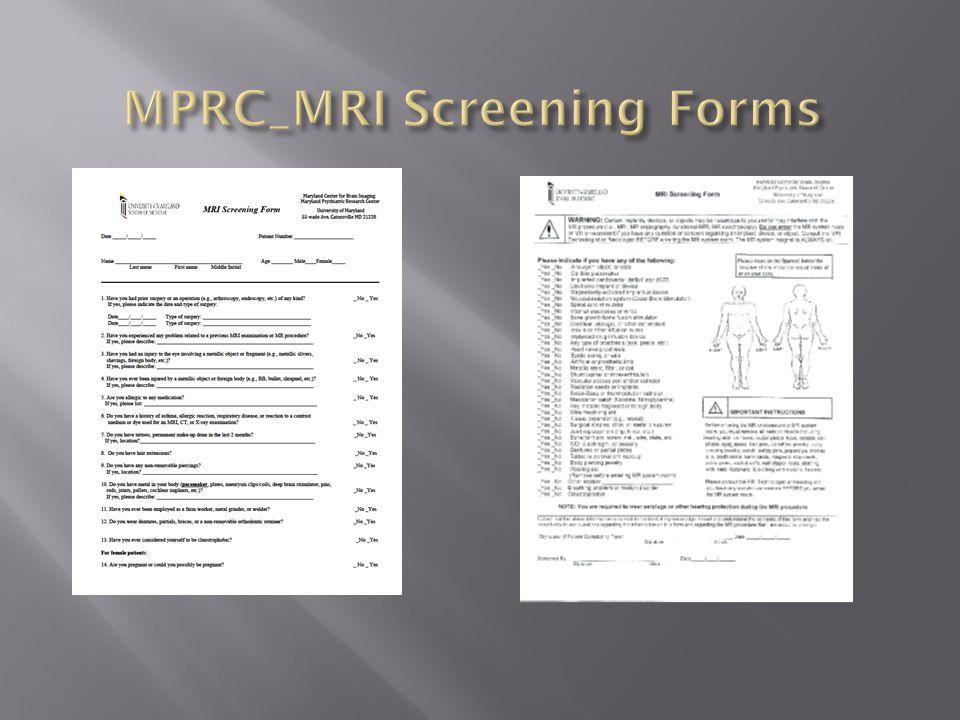 MPRC_MRI Screening Forms
