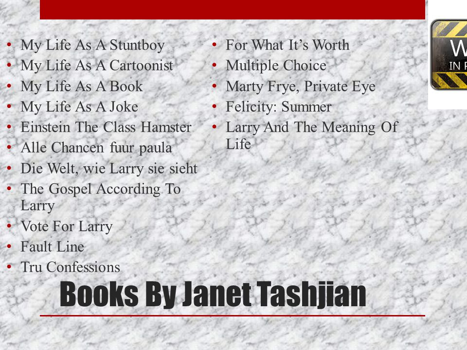 Books By Janet Tashjian
