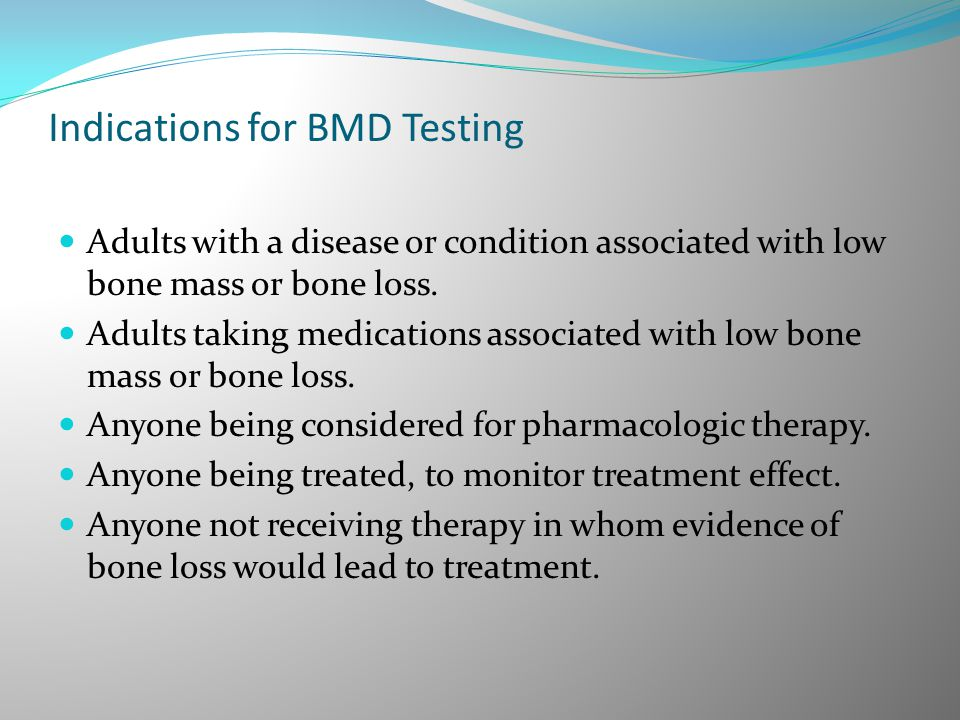 Indications for BMD Testing