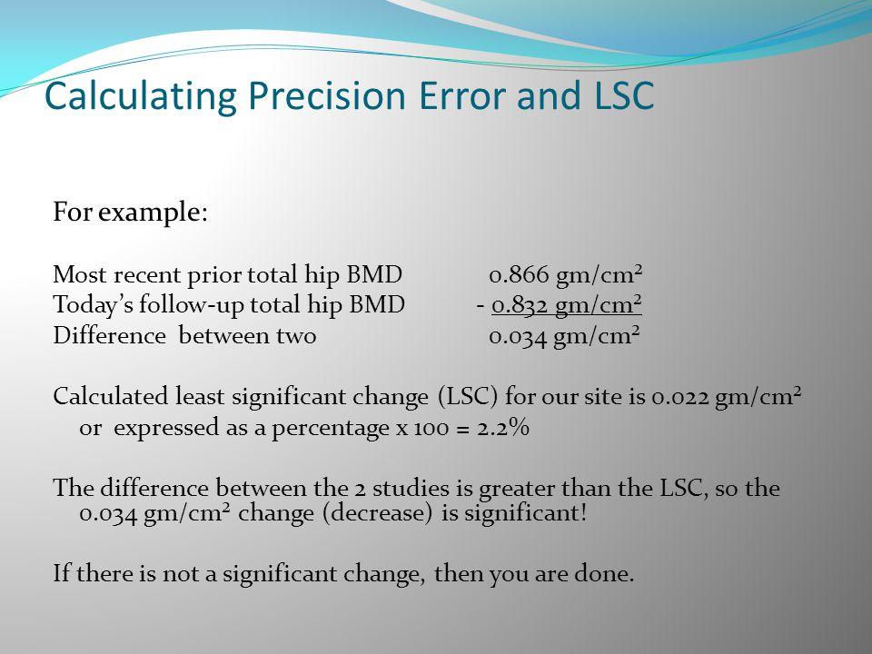 Calculating Precision Error and LSC
