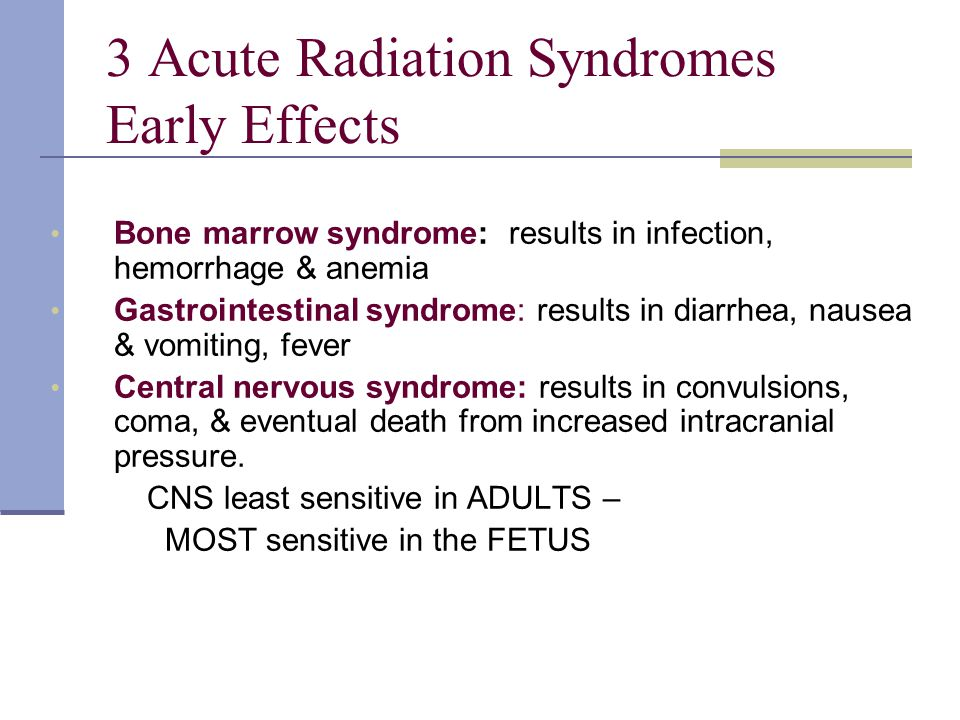 3 Acute Radiation Syndromes Early Effects