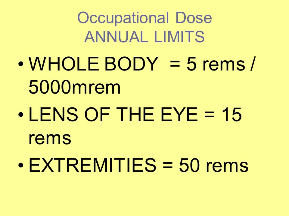 Occupational Dose ANNUAL LIMITS