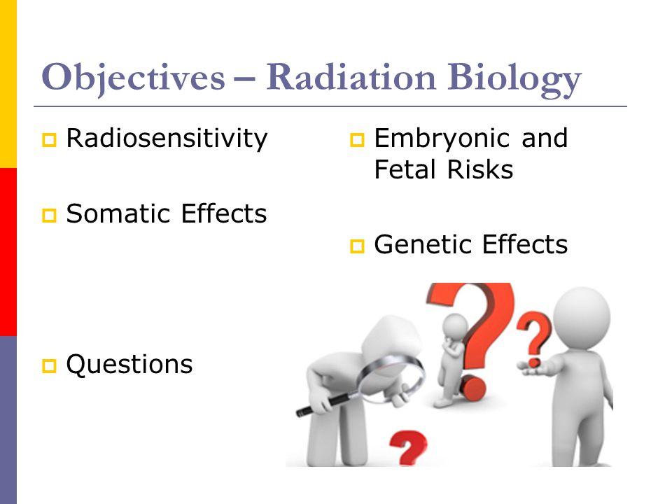 Objectives – Radiation Biology