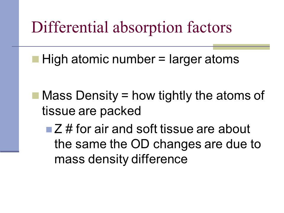 Differential absorption factors