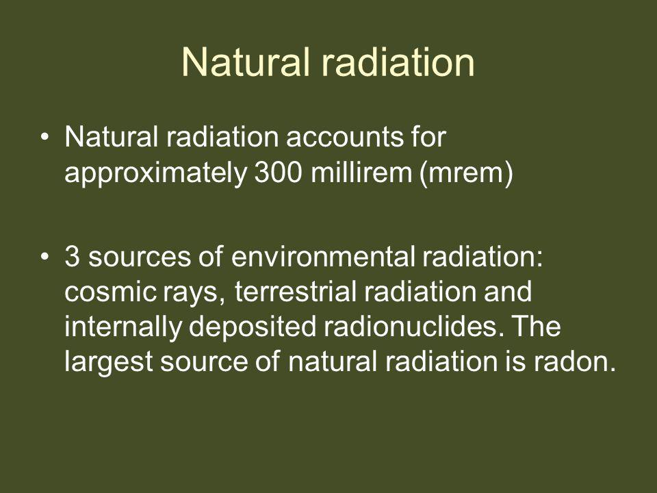 Natural radiation Natural radiation accounts for approximately 300 millirem (mrem)