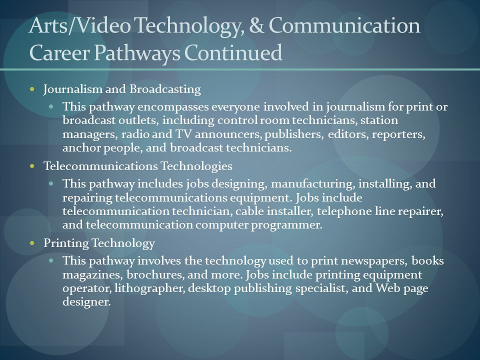 Arts/Video Technology, & Communication Career Pathways Continued