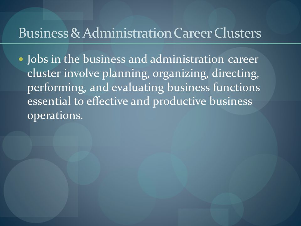 Business & Administration Career Clusters
