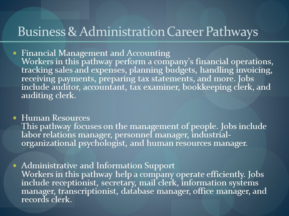 Business & Administration Career Pathways