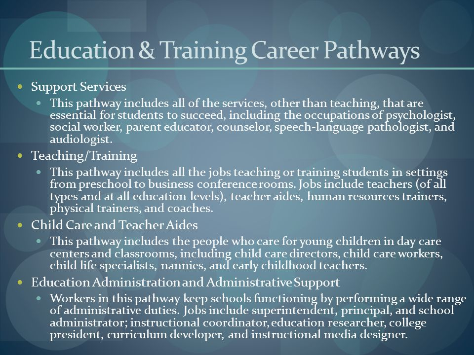 Education & Training Career Pathways