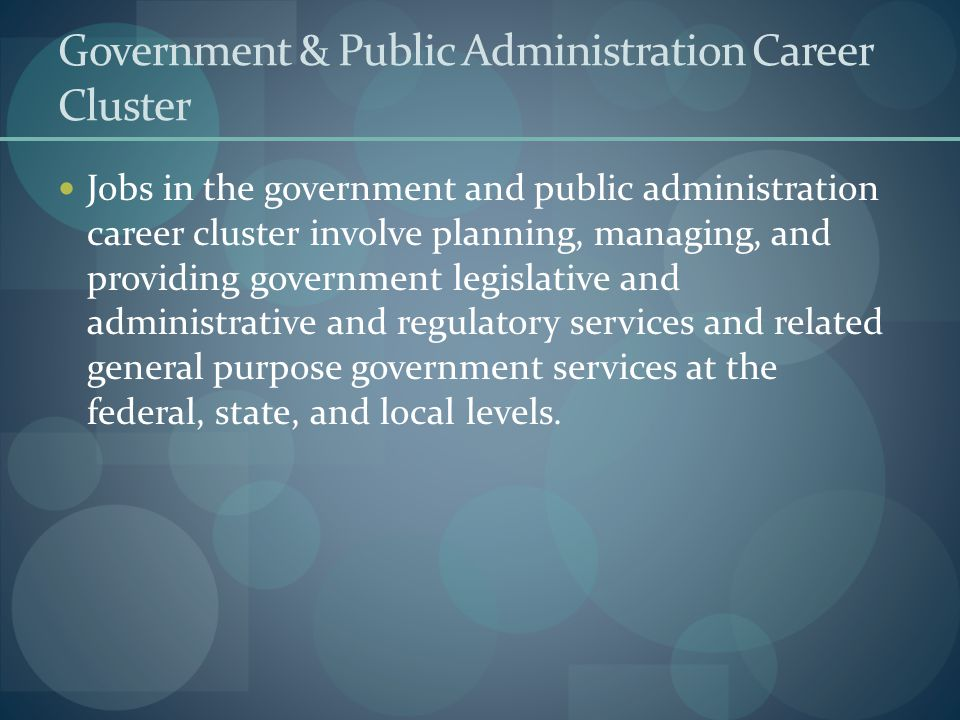 Government & Public Administration Career Cluster