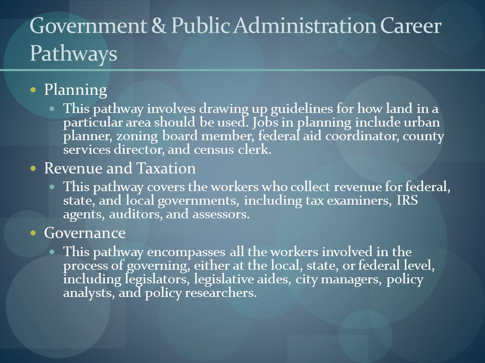 Government & Public Administration Career Pathways