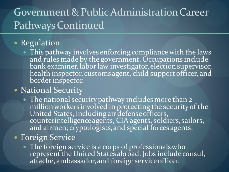 Government & Public Administration Career Pathways Continued