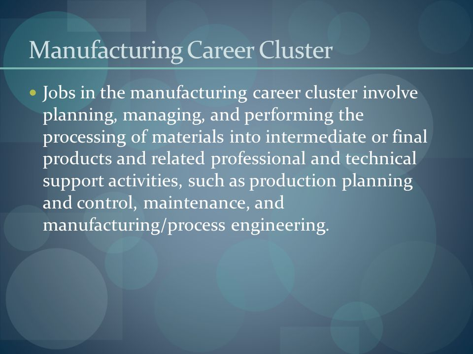 Manufacturing Career Cluster