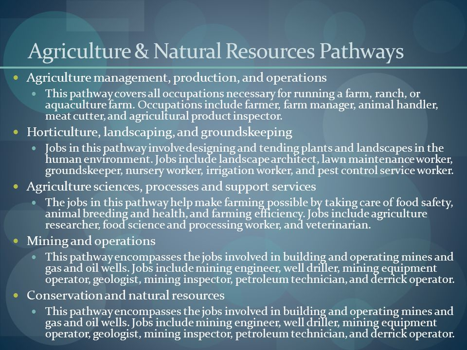 Agriculture & Natural Resources Pathways