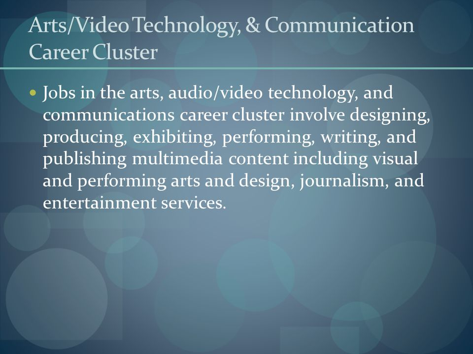 Arts/Video Technology, & Communication Career Cluster