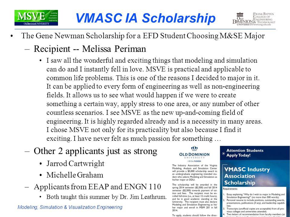 VMASC IA Scholarship Recipient -- Melissa Periman