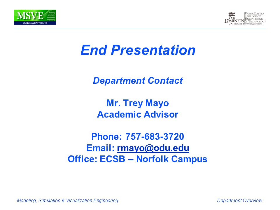 End Presentation Department Contact Mr