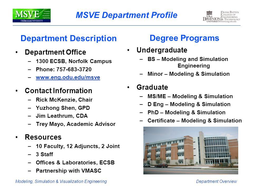 MSVE Department Profile