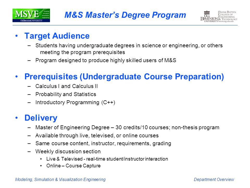 M&S Master's Degree Program