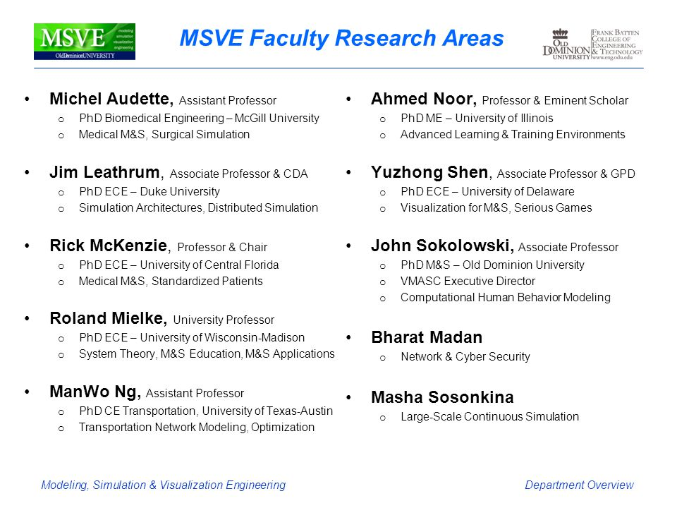 MSVE Faculty Research Areas