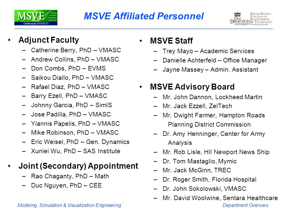 MSVE Affiliated Personnel