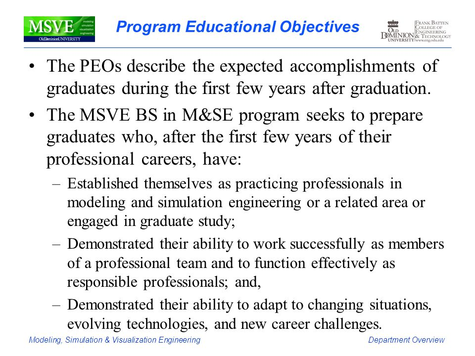 Program Educational Objectives