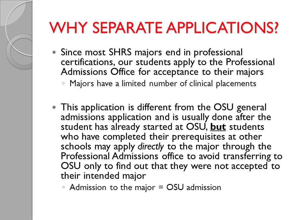 WHY SEPARATE APPLICATIONS
