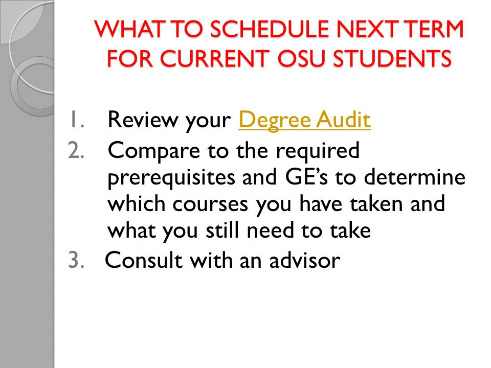 What to Schedule Next Term for current OSU students