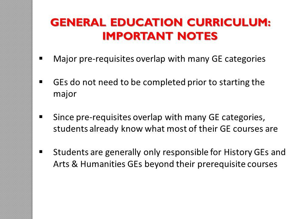 General Education Curriculum: Important Notes