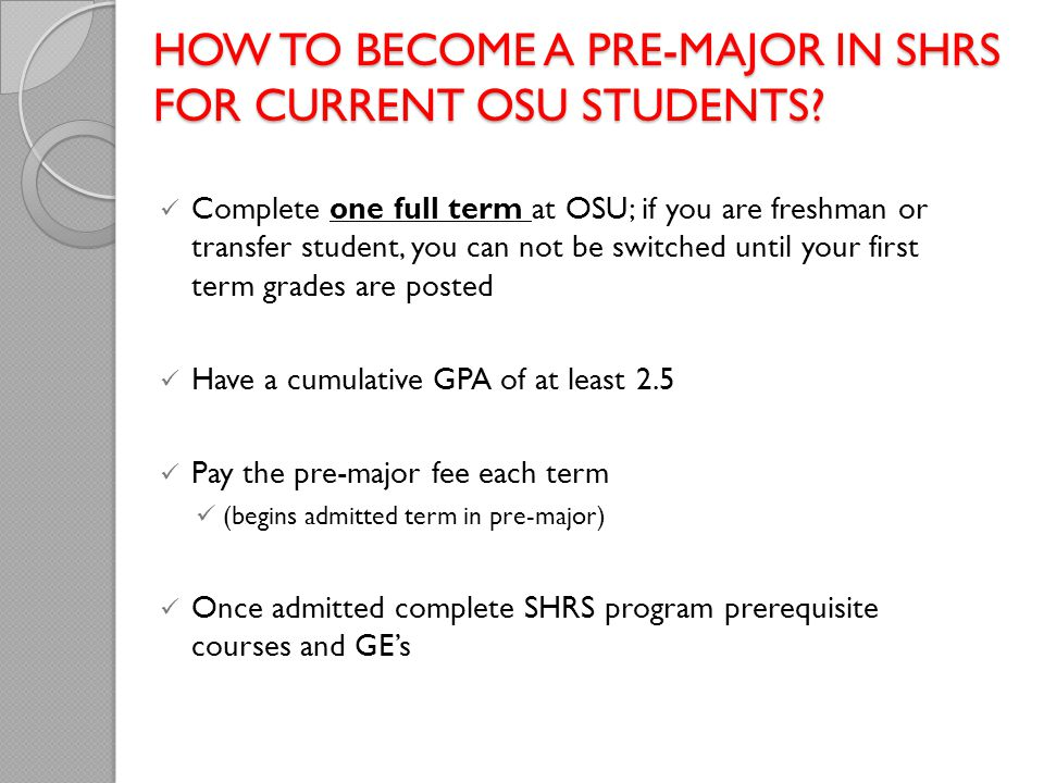 How to become a pre-major in SHRS for current OSU students