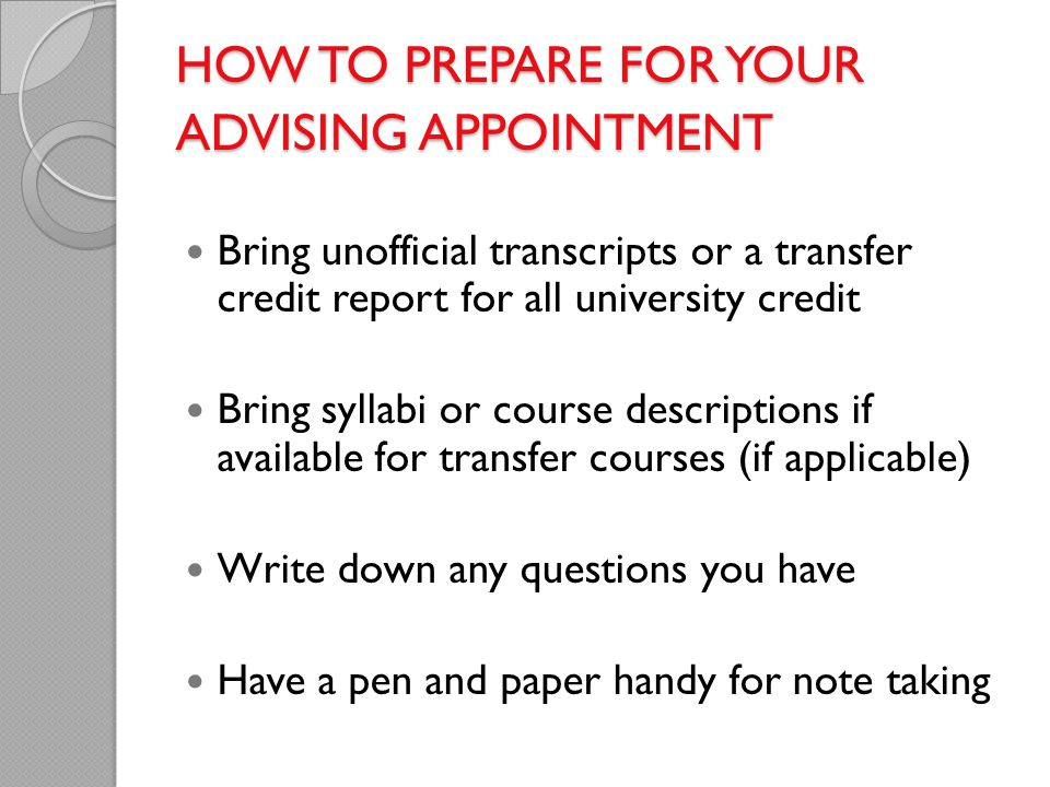 How to prepare for your advising appointment