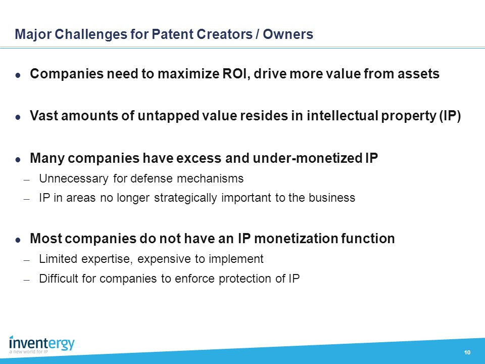 Major Challenges for Patent Creators / Owners