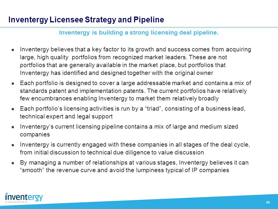 Inventergy Licensee Strategy and Pipeline