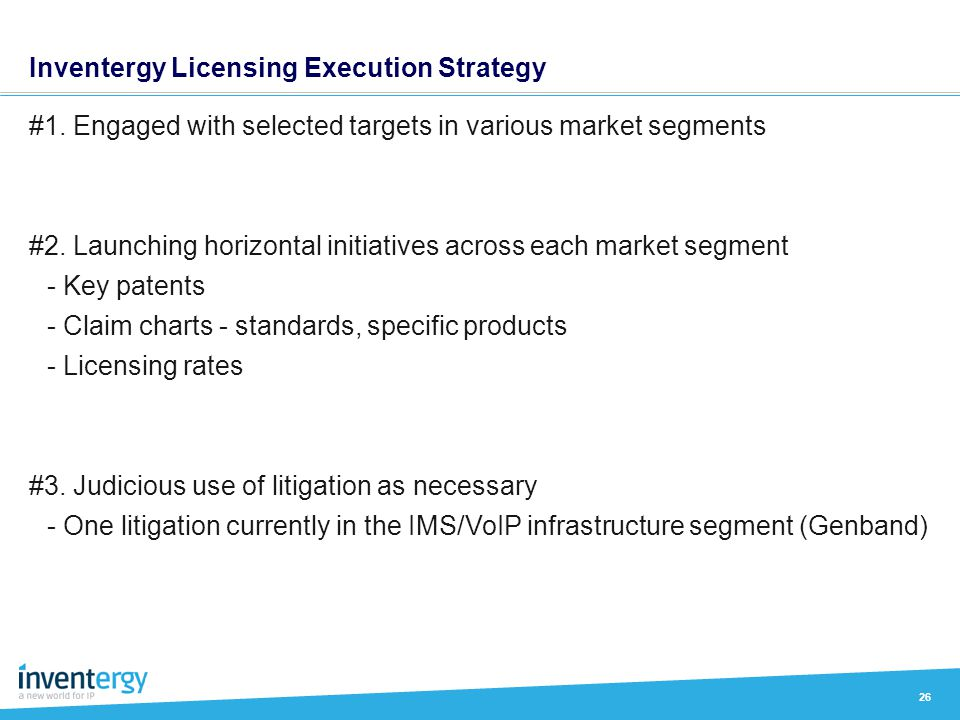Inventergy Licensing Execution Strategy