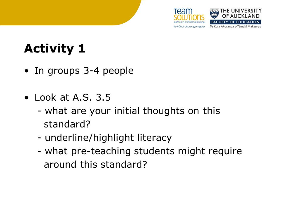Activity 1 In groups 3-4 people Look at A.S. 3.5