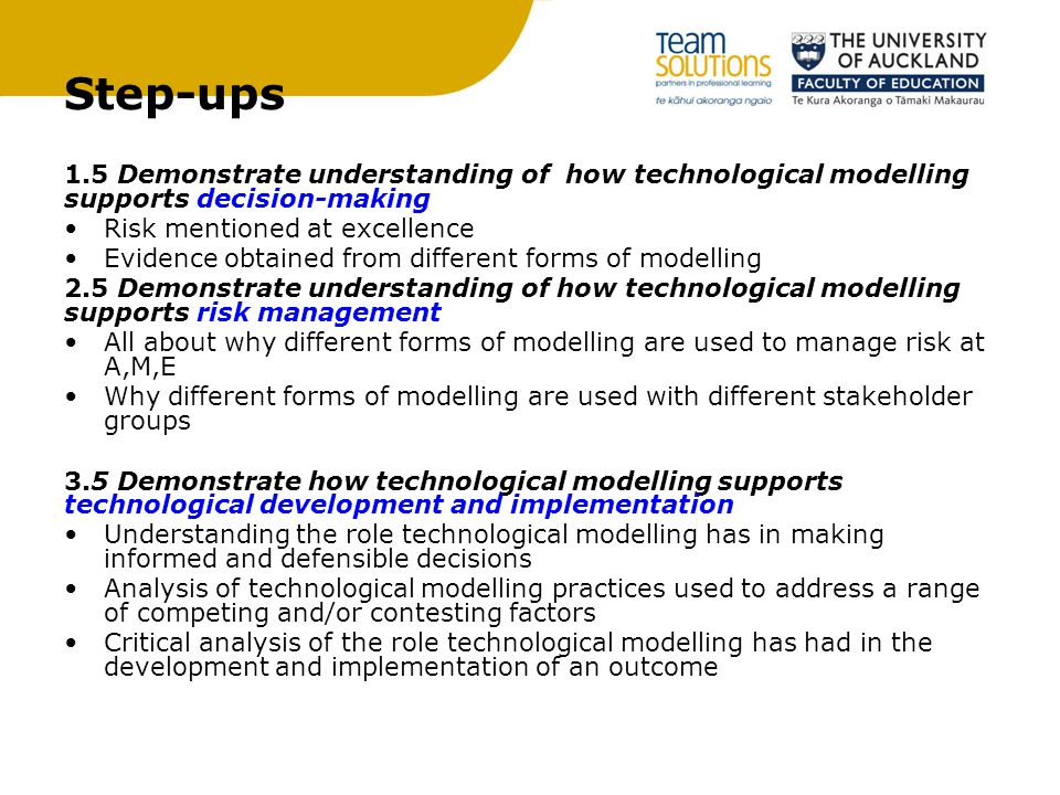 Step-ups 1.5 Demonstrate understanding of how technological modelling supports decision-making. Risk mentioned at excellence.