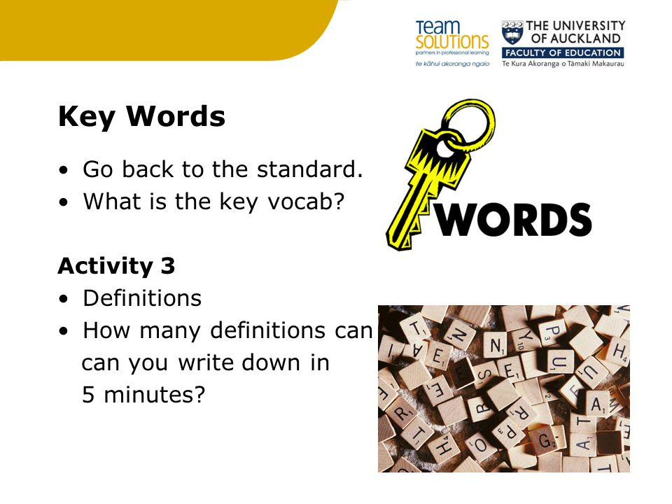 Key Words Go back to the standard. What is the key vocab Activity 3