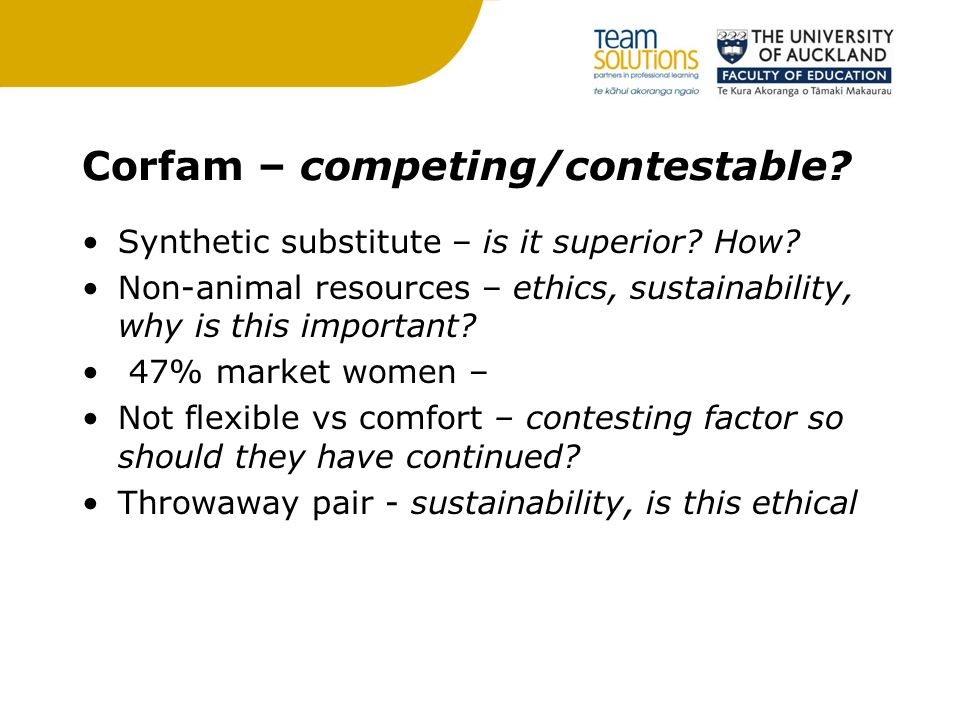 Corfam – competing/contestable