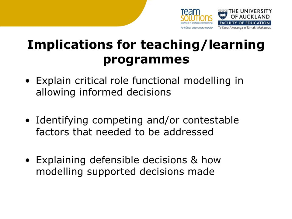 Implications for teaching/learning programmes