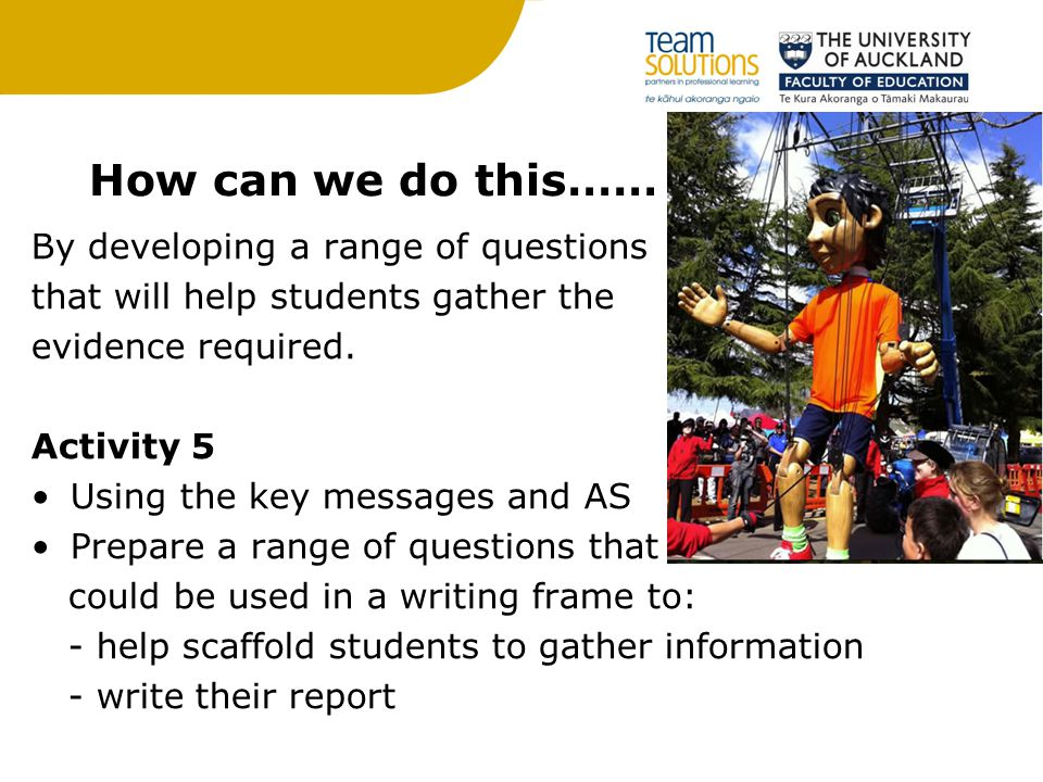 How can we do this…… By developing a range of questions