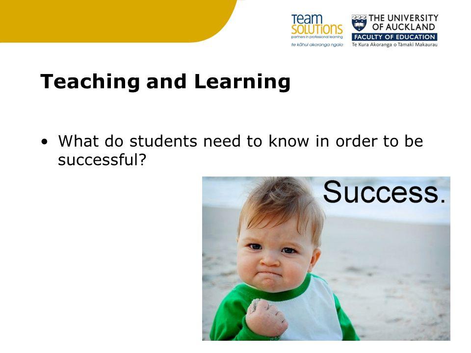 Teaching and Learning What do students need to know in order to be successful