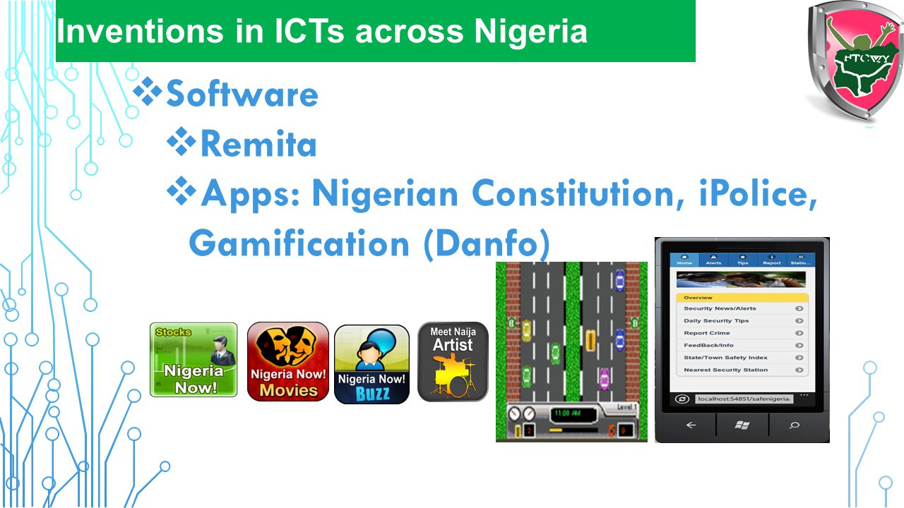 Apps: Nigerian Constitution, iPolice, Gamification (Danfo)