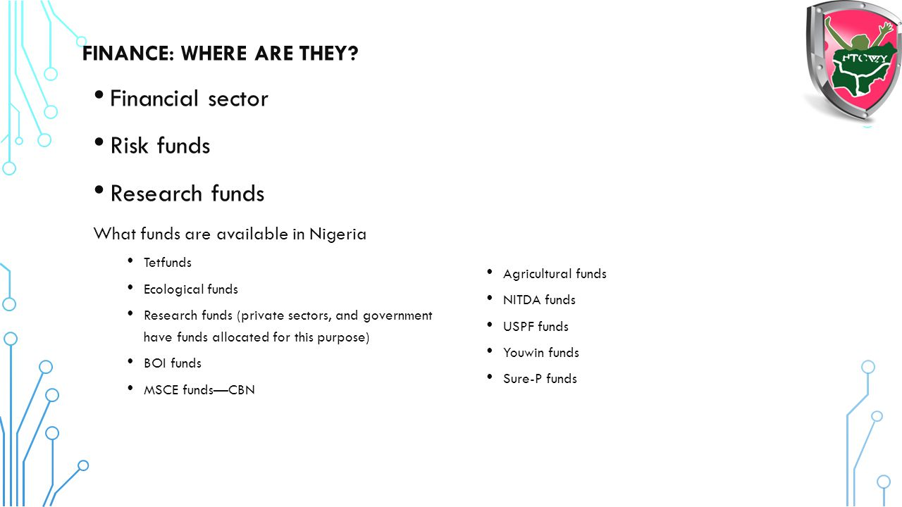 Financial sector Risk funds Research funds FINANCE: WHERE ARE THEY