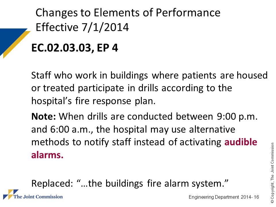 Changes to Elements of Performance Effective 7/1/2014
