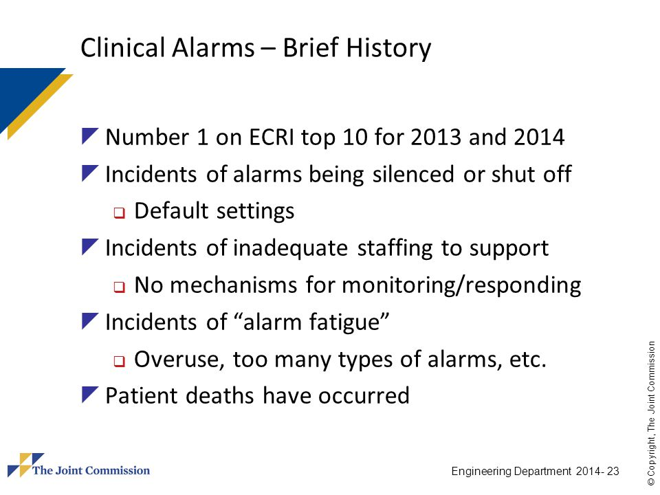 Clinical Alarms – Brief History