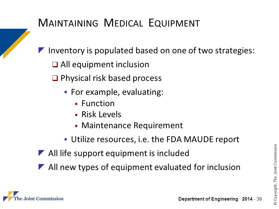 Maintaining Medical Equipment