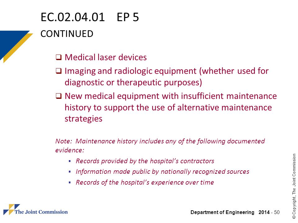 EC.02.04.01 EP 5 continued Medical laser devices